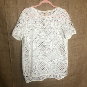 Sundance Cover Up White Lace Short Sleeve L Layer